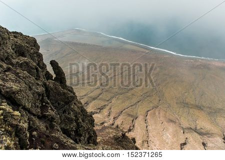 view of the coastline from observation deck in rocks, Canary Island, Lanzarote
