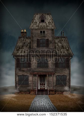 Haunted House. Scary old house good for use in Halloween or horror projects.