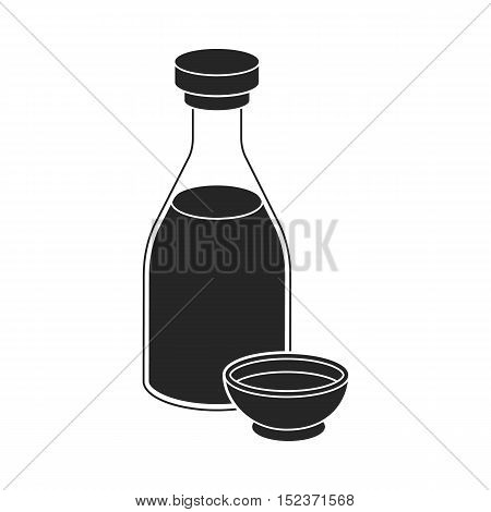Soy sauce icon in  black style isolated on white background. Sushi symbol vector illustration.
