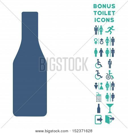 Beer Bottle icon and bonus male and lady toilet symbols. Vector illustration style is flat iconic bicolor symbols, cobalt and cyan colors, white background.