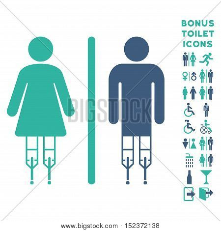 Disabled WC Persons icon and bonus gentleman and lady toilet symbols. Vector illustration style is flat iconic bicolor symbols, cobalt and cyan colors, white background.