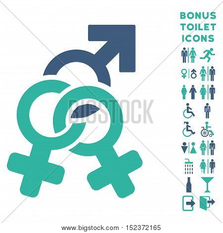 Double Mistress icon and bonus gentleman and woman restroom symbols. Vector illustration style is flat iconic bicolor symbols, cobalt and cyan colors, white background.