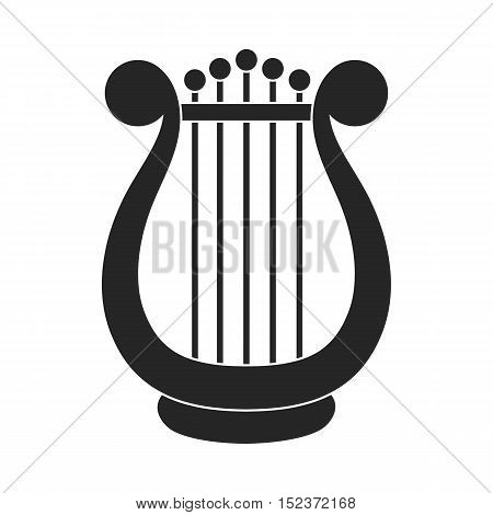 Harp icon in  black style isolated on white background. Theater symbol vector illustration