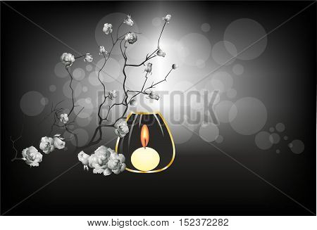 composition with a candle and shrub roses
