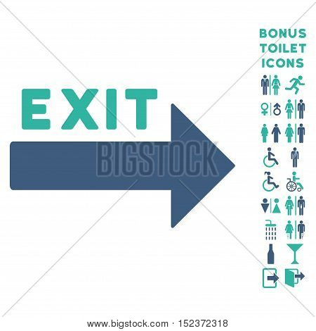 Exit Arrow icon and bonus male and lady toilet symbols. Vector illustration style is flat iconic bicolor symbols, cobalt and cyan colors, white background.