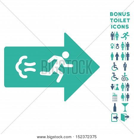 Exit Direction icon and bonus male and female restroom symbols. Vector illustration style is flat iconic bicolor symbols, cobalt and cyan colors, white background.