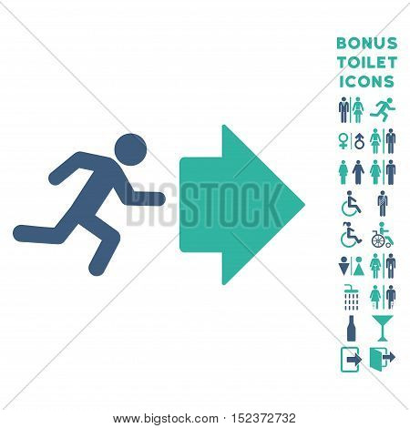 Exit Direction icon and bonus gentleman and woman WC symbols. Vector illustration style is flat iconic bicolor symbols, cobalt and cyan colors, white background.