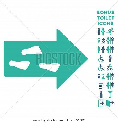 Exit Direction icon and bonus male and female toilet symbols. Vector illustration style is flat iconic bicolor symbols, cobalt and cyan colors, white background.