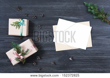 Holiday mock up with two gift boxes and decorations