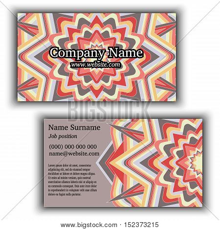 Vector vintage business card. Geometric mandala ornament. Front page and back page.