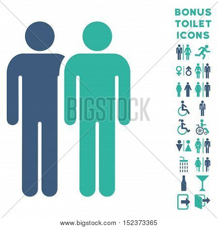 Gay Couple icon and bonus man and female lavatory symbols. Vector illustration style is flat iconic bicolor symbols, cobalt and cyan colors, white background.