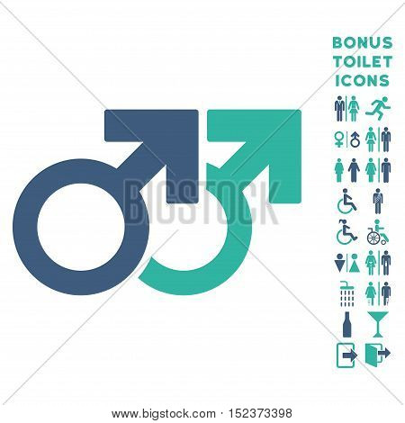 Gay Couple icon and bonus gentleman and lady restroom symbols. Vector illustration style is flat iconic bicolor symbols, cobalt and cyan colors, white background.