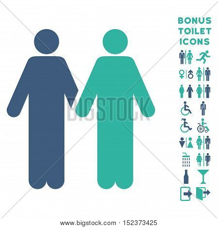 Gay Couple icon and bonus gentleman and woman restroom symbols. Vector illustration style is flat iconic bicolor symbols, cobalt and cyan colors, white background.