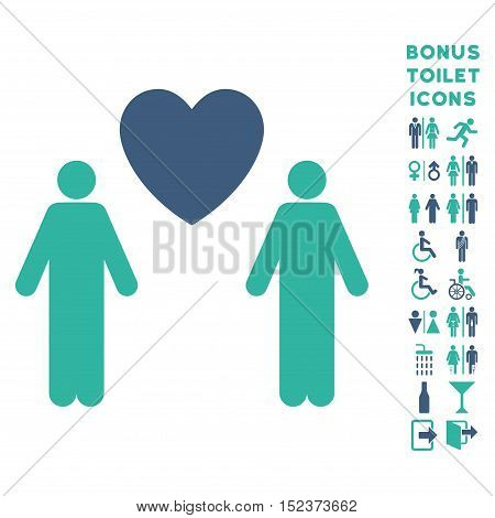 Gay Lovers icon and bonus man and female lavatory symbols. Vector illustration style is flat iconic bicolor symbols, cobalt and cyan colors, white background.
