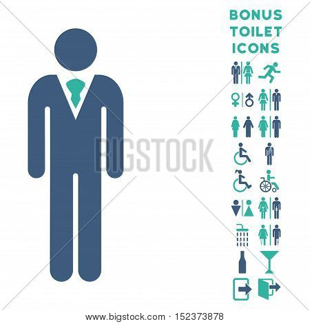 Gentleman icon and bonus gentleman and lady WC symbols. Vector illustration style is flat iconic bicolor symbols, cobalt and cyan colors, white background.
