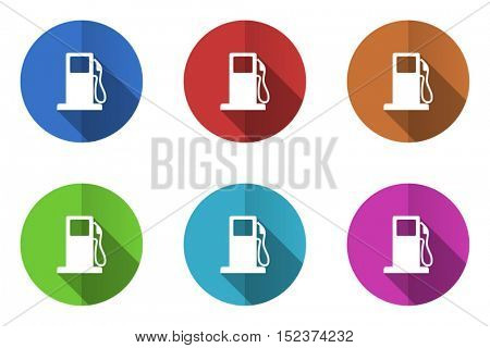 Petrol station vector flat icons