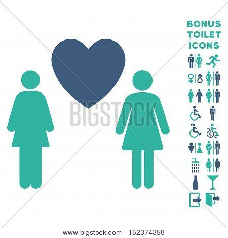 Lesbi Love Pair icon and bonus gentleman and woman lavatory symbols. Vector illustration style is flat iconic bicolor symbols, cobalt and cyan colors, white background.