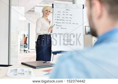 Mature businesswoman giving presentation using flipchart at office