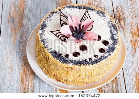 Delicious Poppy Seeds, Walnut And Raisins Sponge Cake