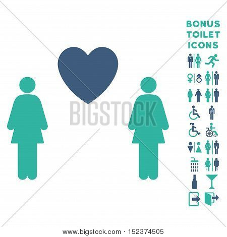 Lesbi Love Pair icon and bonus male and female restroom symbols. Vector illustration style is flat iconic bicolor symbols, cobalt and cyan colors, white background.