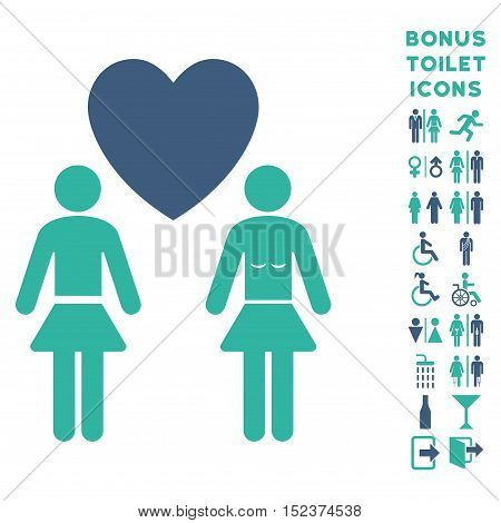 Lesbi Love Pair icon and bonus gentleman and lady toilet symbols. Vector illustration style is flat iconic bicolor symbols, cobalt and cyan colors, white background.