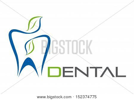 Vector sign dentist blue tooth and pink face