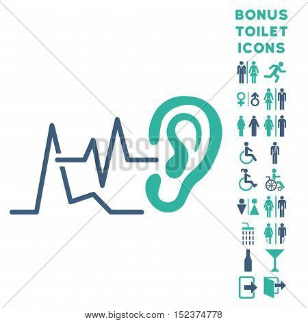 Listen Signals icon and bonus man and woman WC symbols. Vector illustration style is flat iconic bicolor symbols, cobalt and cyan colors, white background.