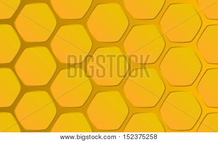 Hand-drawn honeycomb background vector illustration. Horizontal image of sweet honeycomb for  banner template.  Golden honey combs