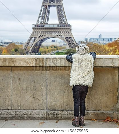 Seen From Behind Modern Girl In Paris, France