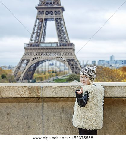 Happy Trendy Child Calling To See Eiffel Tower. Paris, France