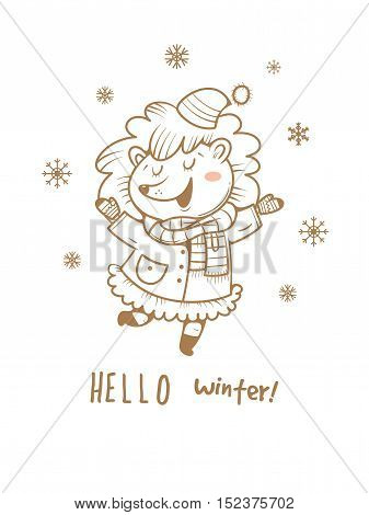 Card with cute cartoon hedgehog  in coat and hat. Winter time. Snow day. little creatures in clothes. Funny animal. Vector contour image no fill. Children's illustration.