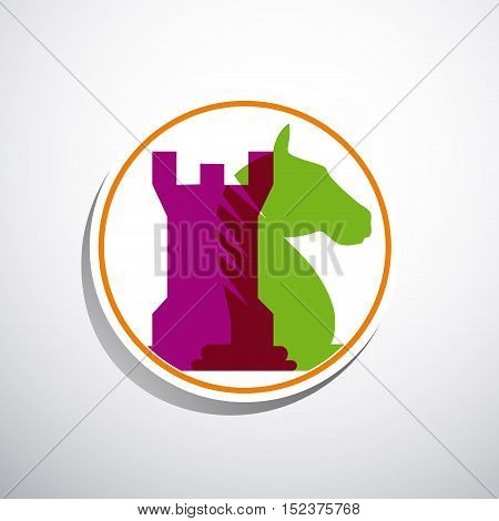 Vector sign horse and tower of chess