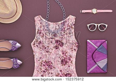 Fashion Lady Outfit. Fashion woman Clothes Accessories Set. Stylish Dress, Glamor Handbag Clutch, Trendy Watches, Shoes. Fashion Design. Top view Essentials. Creative fashion Urban Overhead. Minimal