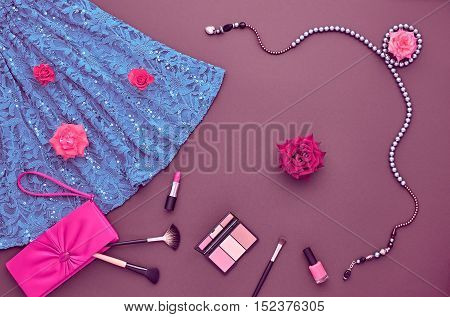 Fashion woman Clothes Accessories Set. Fashion Cosmetic Makeup. Stylish Dress Glamor fashion Handbag Clutch, Rose. Fashion Design Party Outfit. Top view. Creative Cosmetic Overhead. Essentials.Minimal