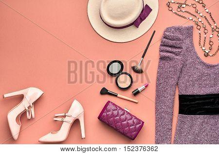 Fashion woman Clothes Accessories Set. Essentials Fashion Cosmetic Makeup. Stylish Lady Dress, Handbag, Glamor Heels. Trendy fashion Design. Top view. Fall Fashion. Vintage. Cosmetic Overhead