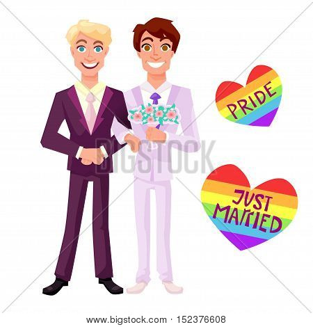 Gay couple standing at their wedding. Lgbt concept vector illustration.
