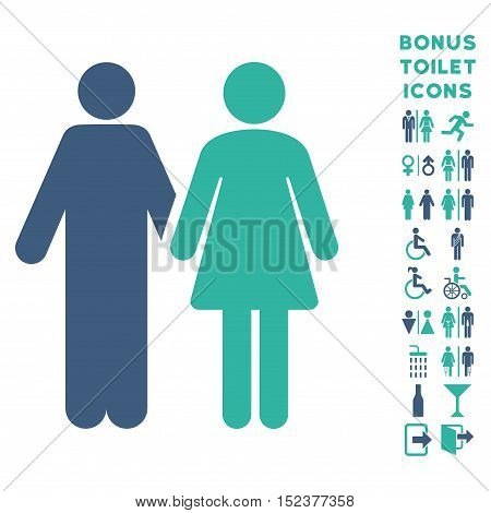 Married Couple icon and bonus gentleman and female WC symbols. Vector illustration style is flat iconic bicolor symbols, cobalt and cyan colors, white background.