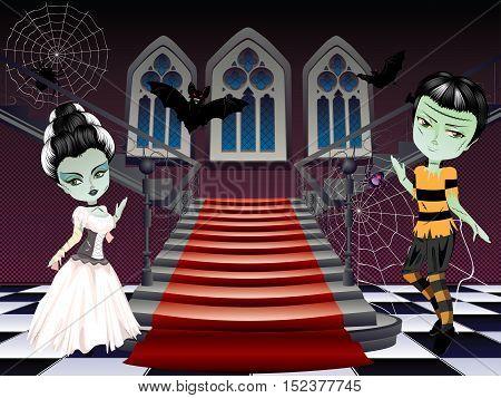 Fashion Zombie Couple Near Stairs