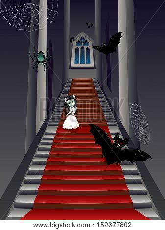 Fashion Zombie Girl On Stairs