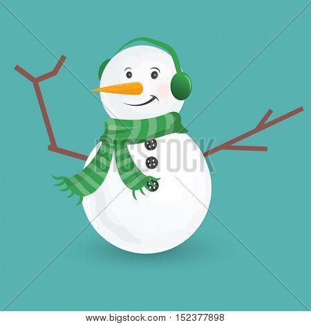 cute little snowmen. Vector Illustration isolated on white background.