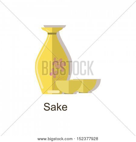 Vector icon sake bottle. Japan alcohol drink â?? vector sake bottle and special cup. Isolated on white background.