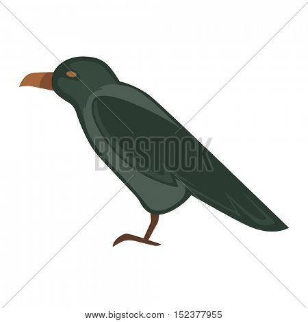 cartoon crow bird. Vector Illustration isolated on white background.