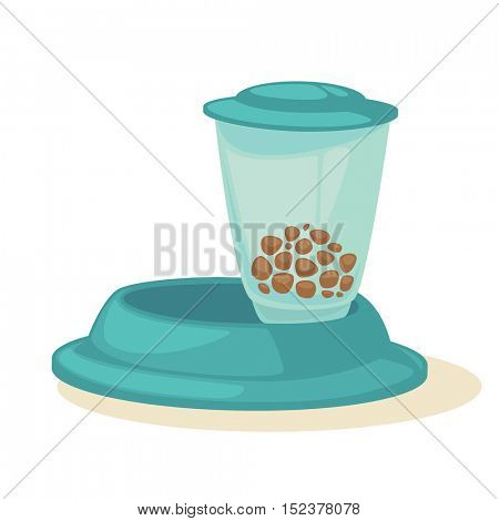 Cat stuff and pets food. Vector icon of colorful cat care object. Cat food and kitten meal. Flat clipart with shadow. Isolated on background.