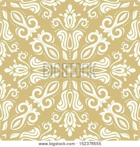 Oriental classic pattern. Seamless abstract background with repeating elements. Golden and white pattern