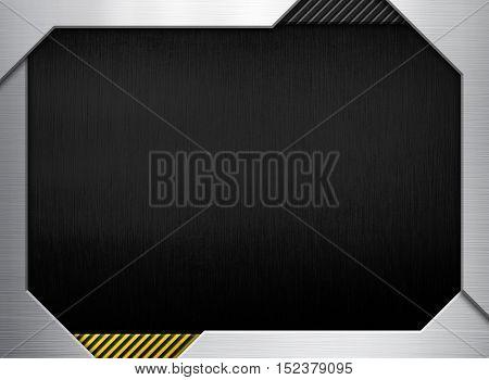 3D black metal frame background