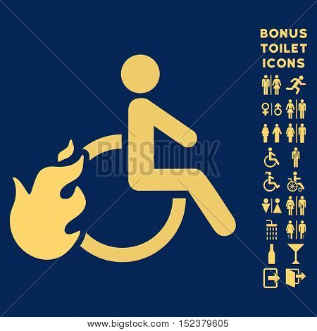 Fired Disabled Person icon and bonus man and lady WC symbols. Vector illustration style is flat iconic symbols, yellow color, blue background.