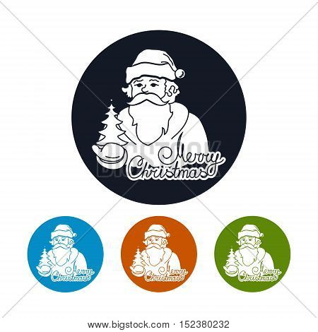 Santa Claus Holds in a Hand Christmas Tree, Merry Christmas, Four Types of Colorful Round Icons Santa Claus, Vector Illustration