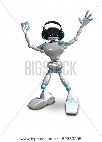 3D Illustration of a White Robot in Headphones