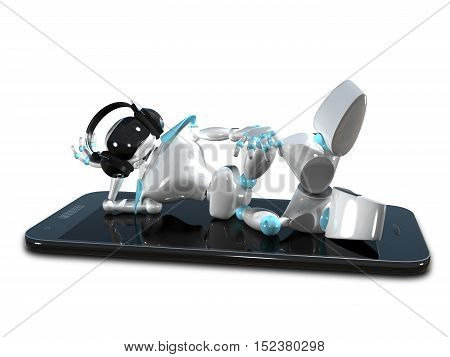 3D Illustration of a White Robot in the Earpiece on Smartphone