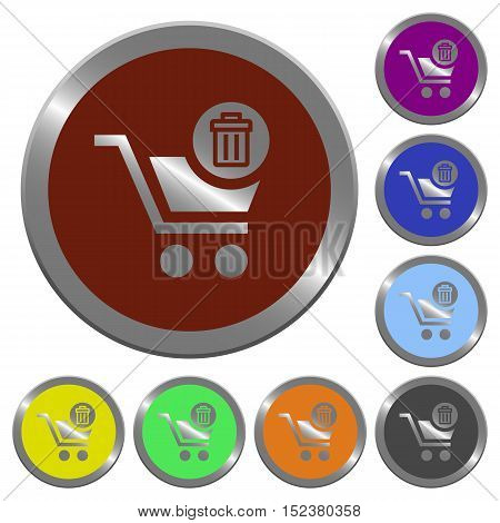 Set of color glossy coin-like delete from cart buttons